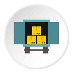 Cargo truck with load icon. Flat illustration of cargo truck with load vector icon for web