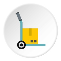 Truck with cargo icon. Flat illustration of truck with cargo vector icon for web