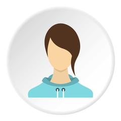 Girl avatar icon. Flat illustration of girl avatar vector icon for web