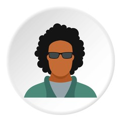 Male afro avatar icon. Flat illustration of male afro avatar vector icon for web
