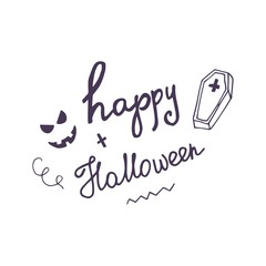 Hand drawn card with scary face, coffin and hand lettering phrase Happy Halloween.