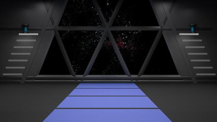 Sci Fi corridor interior design.3D rendering