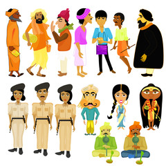 Indian citizens set different policeman. vector illustration