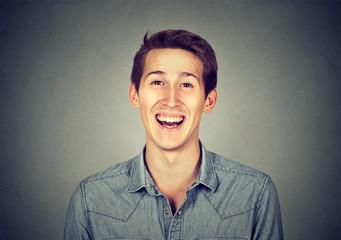Headshot smiling laughing modern man, creative professional