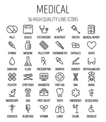 Set of medical icons in modern thin line