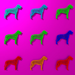 Colorful dogs illustration patten