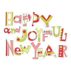 New year greetings. Decorative lettering for holiday cards.