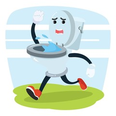toilet running vector illustration design