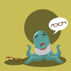 octopus monster loosing his glasses