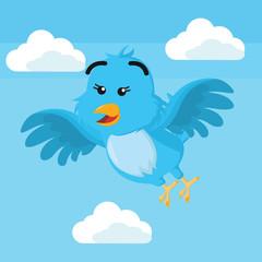 blue bird flying vector illustration design