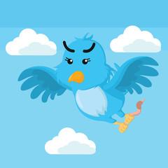 blue bird holding worm