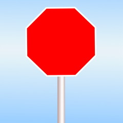 blank Red road sign in blue sky background
