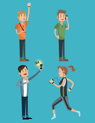 People cartoons with smartphone and gadgets icon. Mobile theme. Colorful design. Vector illustration