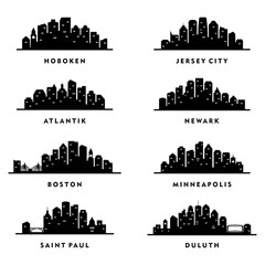 Cities Skyline New Jersey, Massachusetts, Minnesota - Silhouette