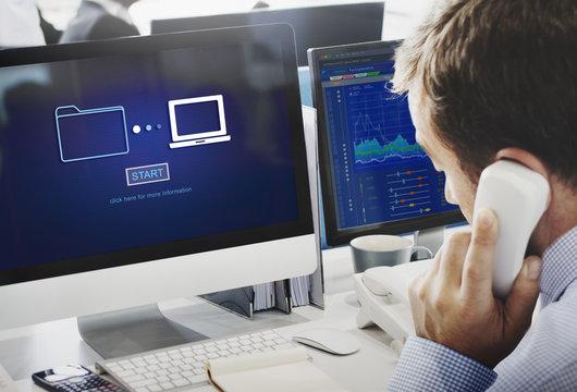 Storage Online Data Transfer Sync Information Technology Concept