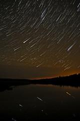 star lake sky forest tracks