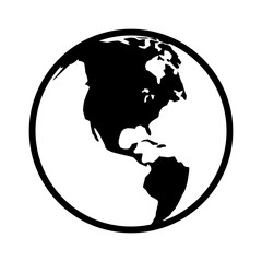 World map globe or planet earth world map line art icon for apps and websites