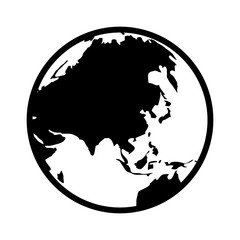 World map globe or planet earth showing Asia line art icon for apps and websites