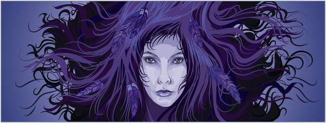 purple colors mystery female fantasy portrait