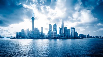Shanghai skyline panorama in China.