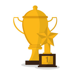 Trophy cup with star icon. Champions league winner and success theme. Colorful design. Vector illustration