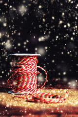 Christmas decoration, winter holidays symbol on wooden vintage b