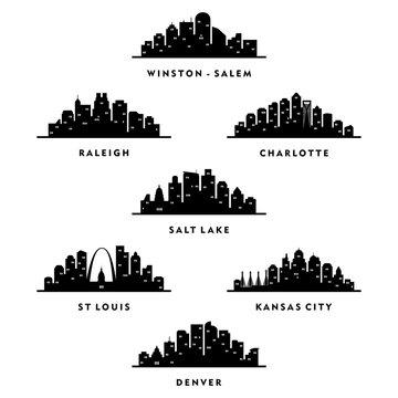 Skyline North Carolina, Utah, Missouri, Colorado City - Silhouette