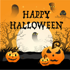 Halloween background with silhouettes Witch and Pumpkin
