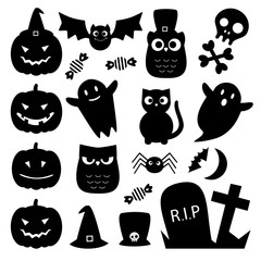 Halloween black cute vector icons