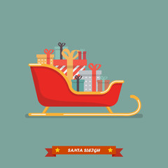 Santa sleigh with piles of presents