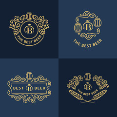 Line graphics monograms. Logo design. Flourishes frame ornament template with barrel , hops and leaves for logos, labels, emblems for beer house, bar, pub, brewing company, brewery, tavern. Vector set
