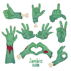 Set of icons, symbols, pin with cartoon zombie hands. Collection of gestures dead zombie hands for the Halloween. Funny hand dead people design elements. Vector.