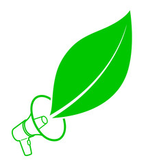 Ecology activist concept with megaphone and leaf