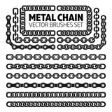 Metal vector chains isolated  Chrome chain icons and brushes