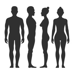 Man and woman vector silhouettes in front side view