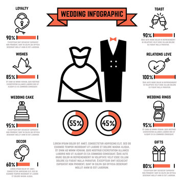 Wedding vector infographics with marriage and bridal flat icons