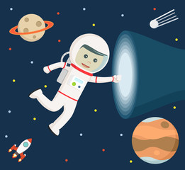 astronaut touching vortex vector illustration design