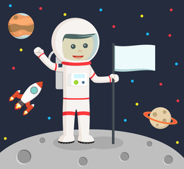astronaut holding flag vector illustration design
