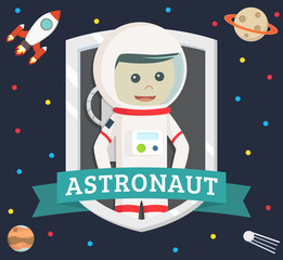 astronaut in emblem vector illustration design
