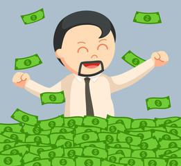 fat man bath in money vector illustration design
