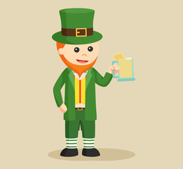 leprechaun holding wine vector illustration design