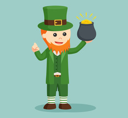 leprechaun holding pot of gold
