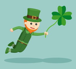 leprechaun fly with clover leaf