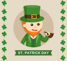 leprechaun in circle vector illustration design