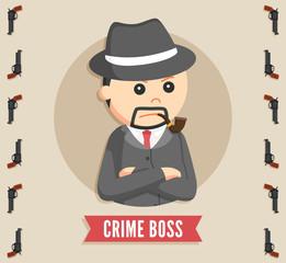crime boss in circle logo