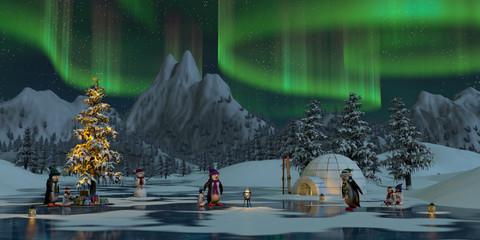 Penguins under the northern lights at Christmas time, 3d render
