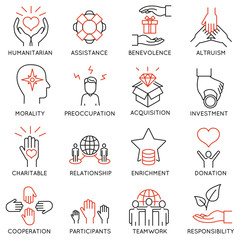 Vector set of 16 thin icons related to altruism, benevolence, human responsible and beneficence. Altruism, Benevolence Icons. Mono line pictograms and infographics design elements - part 1