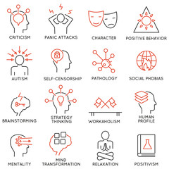 Vector set of 16 modern thin line icons related to mental features of human brain process, mental disorders. Simple Mono line pictograms and infographics design elements and symbols - part 2