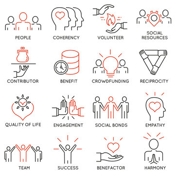 Vector set of 16 thin icons related to altruism, benevolence, human responsible and beneficence. Altruism, Benevolence Icons. Mono line pictograms and infographics design elements - part 2