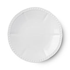 Simple white circular porcelain plate with clipping path